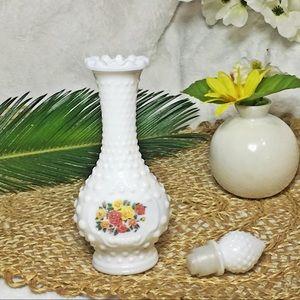 Avon Accents - Rare Vintage AVON Milk Hobnail Textured Vase w/Lid